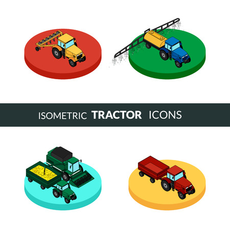 tractor trailer: Set of agricultural icons. A tractor with a plow and a trailer with hay. Tractor sprinkles planting insecticides. The harvester harvests.