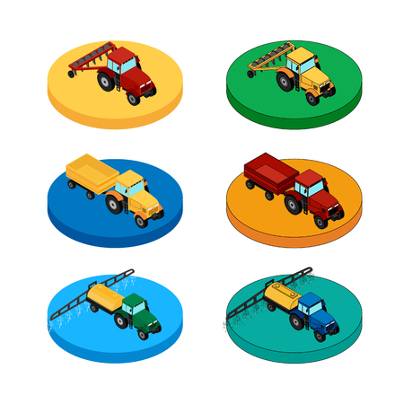 tractor trailer: Set of agricultural icons. A tractor with a plow and a trailer. Tractor sprinkles planting insecticides.