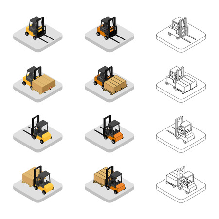 fork lifts trucks: Set of isometric icons of the forklift. Loader with pallet with boxes. Colorful and outline.