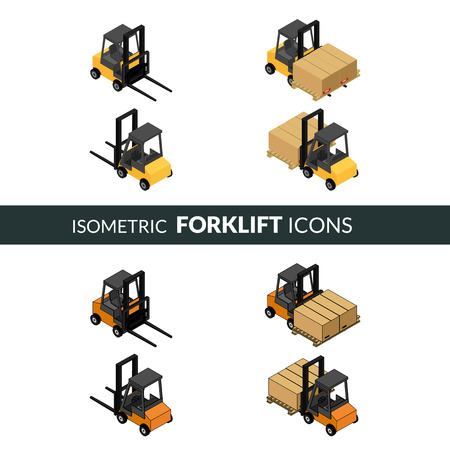 fork lifts trucks: Set of isometric icons of the forklift. Loader with pallet with boxes. Colorful and contour. Illustration
