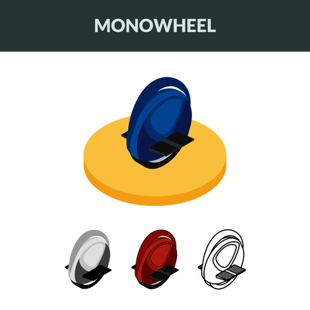 Set of isometric icons electric unicycle, balancing scooter, monowheel. Colorful, contour, outline. 3D