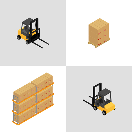 Set of icons isometric forklift and pallets with boxes.3d.