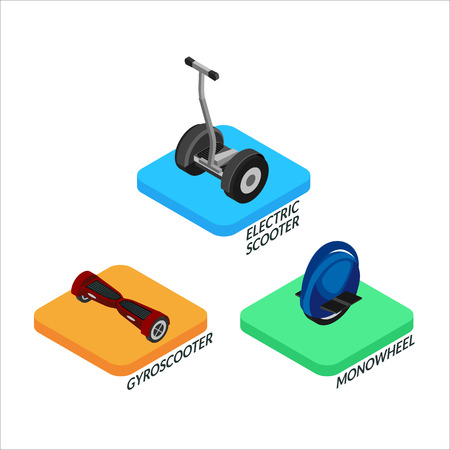 Set of colorful isometric icons electric balancing scooters. monowheel, gyroscooter. 3D Illustration