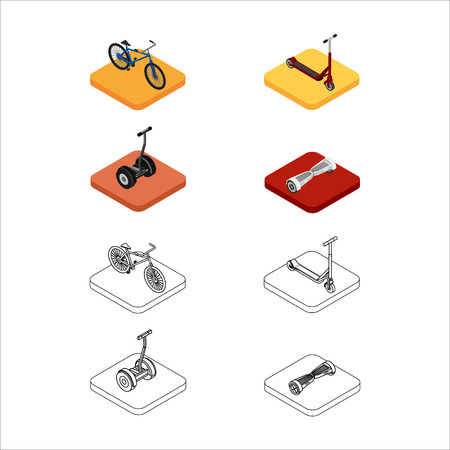 Isometric set of colorful and outline icons of extreme sports transport. bicycle, scooter, gyroscooter, electric scooter. 3D