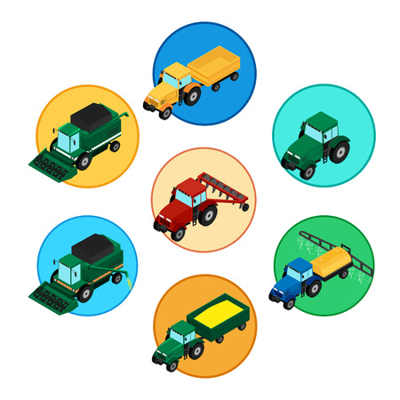 plow: Set of agricultural icons. Farm tractor with a plow and a trailer. Tractor sprinkles planting insecticides. The harvester harvests. Isometric, 3D