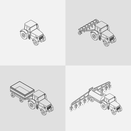 labranza: Conjunto de iconos de contorno contorno agrícolas. Tractor agrícola con el arado, remolque, rociado con insecticidas.