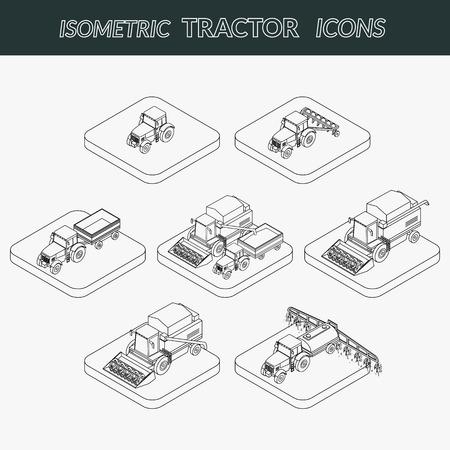 labranza: Conjunto de iconos de contorno agrícolas. Tractor agrícola con un arado y un remolque. Tractor insecticidas rocía la siembra. Las cosechas cosechadora. Isométrica, 3D