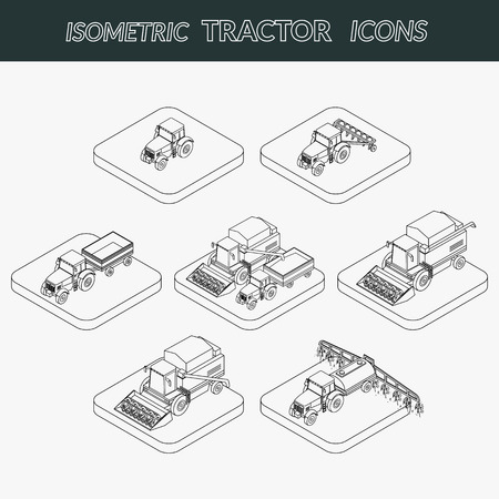 tractor trailer: Set of outline agricultural icons. Farm tractor with a plow and a trailer. Tractor sprinkles planting insecticides. The harvester harvests. Isometric, 3D Illustration