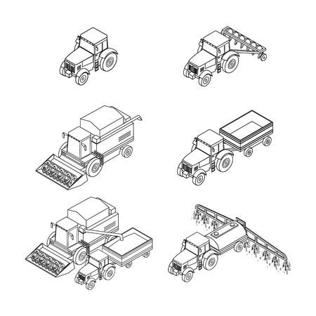 tillage: Conjunto de iconos de contorno agrícolas. Tractor agrícola con un arado y un remolque. Tractor insecticidas rocía la siembra.