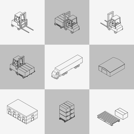 shed: Set of contour icons of the warehouse. Outline hangar, truck, forklift, pallets with boxes. Isometric, 3D Illustration