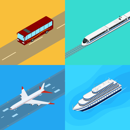 Vector illustration. Set of web icons public passenger transport. Bus, train, plane, ship. Isometric, 3D. Design for ticket sales, travel and tourism.