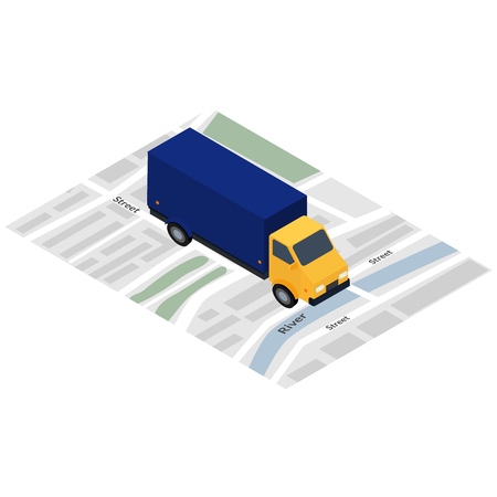 carretilla de mano: Vector illustration. Icon. Truck on the city map. Design for advertising, business cards, brochures, web banners. Isometric, 3D