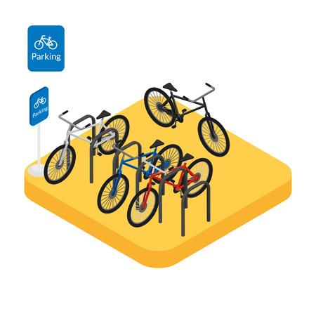 Illustration vectorielle Stationnement de vélo icône Web avec des vélos colorés et le signe. Isométrique 3D.