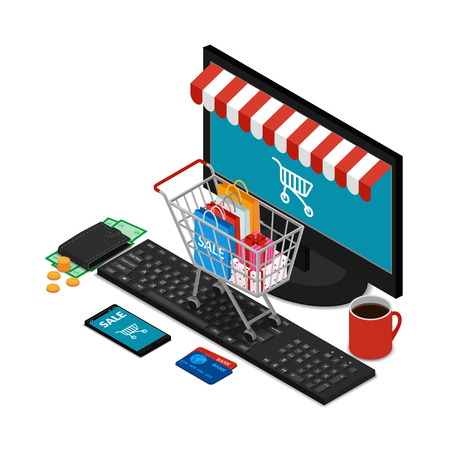 Vector illustration. Basket with shopping bags and boxes with gifts on the computer keyboard. Cup, wallet with money, mobile phone and Bank card for payment in online shop. Isometric, 3D. Illustration