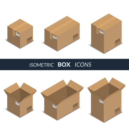 Vector illustration. Set of icons of cardboard boxes, open and closed, on a white background. Isometric, 3D