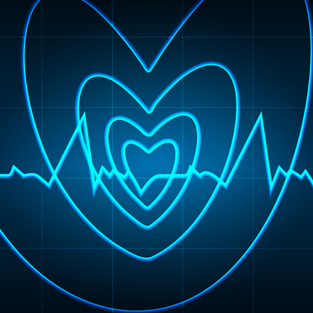 Vector illustration. Heart of the spiral in the background of the cardiogram. Design for business card, banner, brochure, medical clinics. Illustration