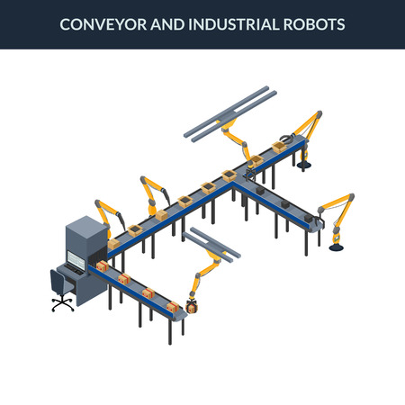 industrial robots: vector illustration. Automatic conveyor line with industrial robots. Packaging line with boxes. isometric. 3D