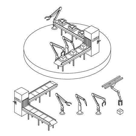 industrial robots: Vector illustration. Set of contour icons of industrial robots and automatic packaging conveyor line. Isometric, 3D. Outline Illustration