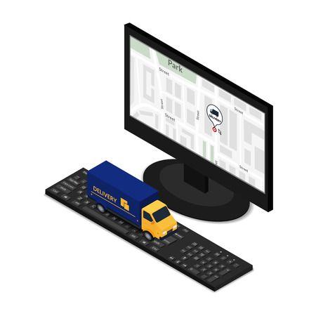 ordering: Vector illustration. Truck delivery on the keyboard of a personal computer. The concept of ordering online and tracking delivery. Isometric, 3D