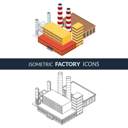 Vector illustration. Icons factory with pipes and silos. Office building and industrial plant. Colorful and outline, contour. Isometric, 3D Illustration