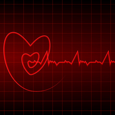 Vector illustration. Cardiogram with red heart outlines on a black background. Design for business card, banner, brochure, medical clinics.