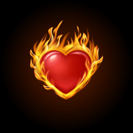 vector illustration. Red burning heart with fire on a black background. Designs for banners, cards, invitations for Valentine's day, medical cardiograms. Illustration