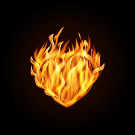 Vector illustration. Burning heart on a black background. Design for greeting card, banner, poster for Valentines day. Illustration