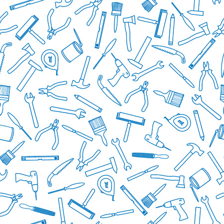 Seamless pattern of tools for construction and repair. Background for banner, business cards, invitations, posters, packaging.