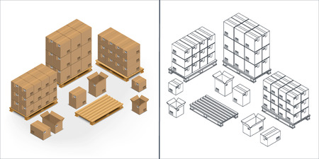 Set of contour and colorful icons of cardboard boxes on pallets, open and closed on a white background. Isometric, 3D. outline Illustration