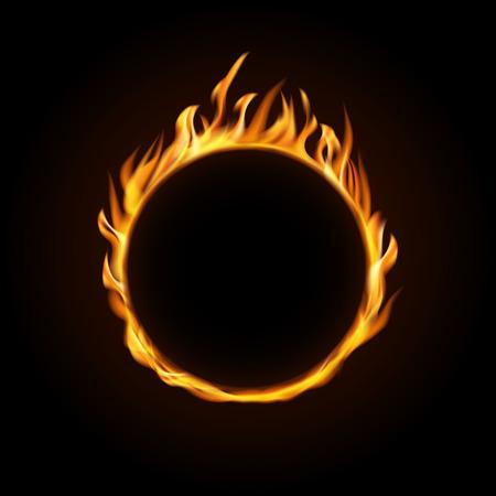 Fire burning circle on a black background. Design for poster, banner, invitation. Ilustração