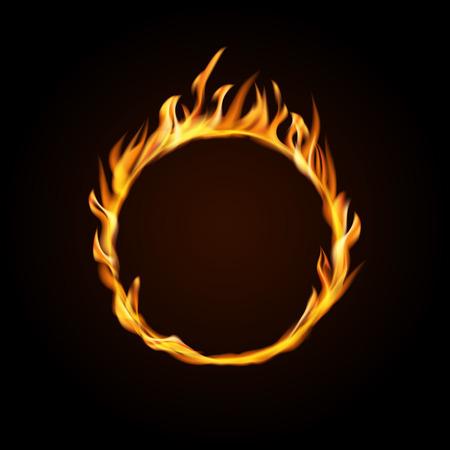 Fire burning circle on a black background. Design for poster, banner, invitation. Ilustrace