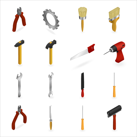 Set of icons of working tools for construction and repair. Wrench, drill, saw, hammer, axe, paint brush, roller, gear screwdriver Isometric 3D Illustration