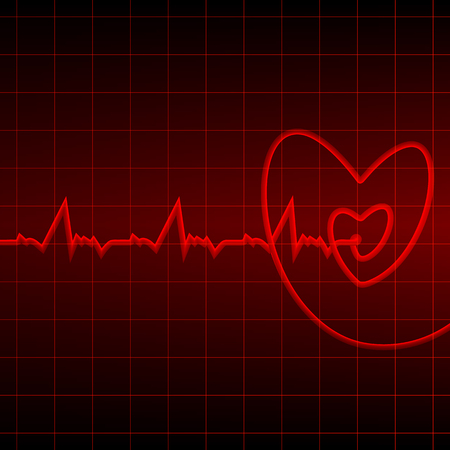 Cardiogram with red heart outlines on a black background