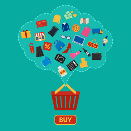 Set of colorful icons for online shopping