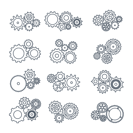 pinion: Set icons black mechanical gears