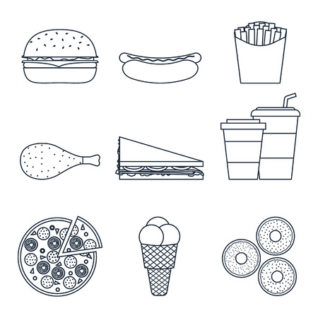 ice tea: Set of outline icons of a fast food restaurant