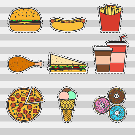 ice tea: Set of colorful icons of fast food