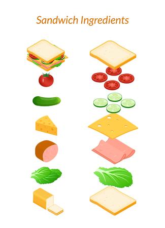Ilustracion vectorial Sándwich con ingredientes rebanados y enteros. Verduras - tomate, pepino, ensalada. Queso, jamón. Isometría, 3D. Foto de archivo - 80621351