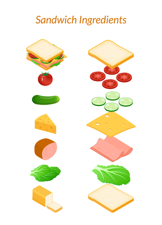 Vector illustration. Sandwich with ingredients sliced and whole. Vegetables - tomato, cucumber, salad. Cheese, ham. Isometry, 3D. Illustration