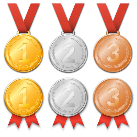 incentive: Vector illustration. A set of award medals with ribbons - gold, silver or bronze.
