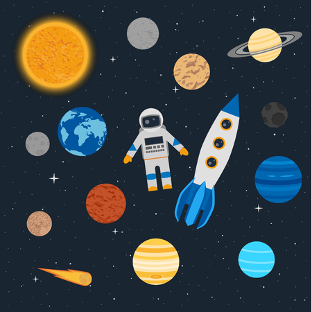 Vector illustration. Planets of the solar system, an astronaut with a rocket on the background of stars in space. Comet and an asteroid. Design for textiles, childrens educational poster, banner. Illustration