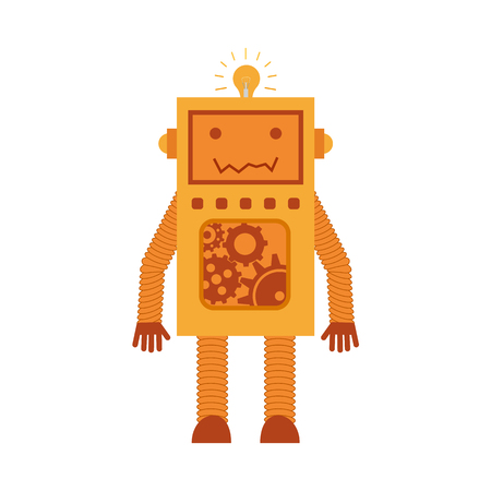 space antenna: Vector illustration. Mechanical smiling cartoon yellow orange robot with gears. Colorful icon in the flat style.