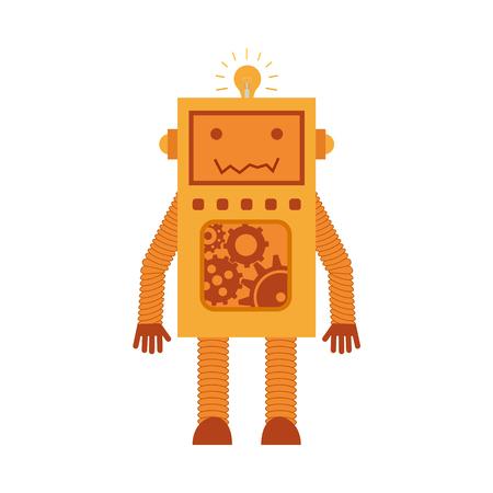 Vector illustration. robot orange de bande dessinée jaune orange avec des haltères icône colorées dans le style plat . Banque d'images - 82876924