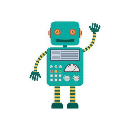 ベクトルの図。機械的笑みを浮かべて漫画ロボットが手を振っています。フラット スタイルのカラフルなアイコン。  イラスト・ベクター素材