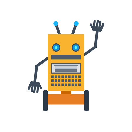 Vector illustration. A mechanical smiling cartoon robot waving hand. Colorful icon in the flat style.