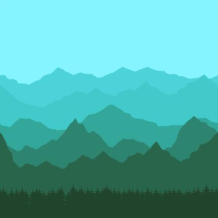 Fond transparent avec des pics de montagne vertes et bleues Banque d'images - 85578262