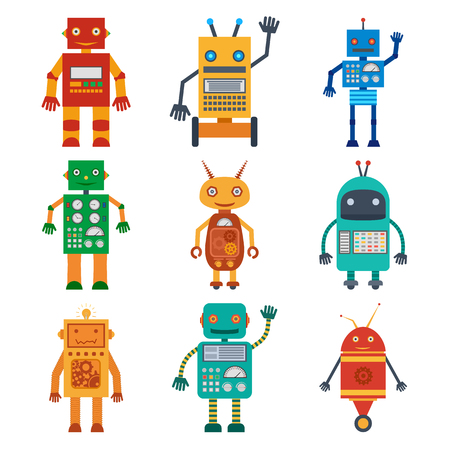 フラットスタイルで各種ロボットのカラフルなアイコンのセット。ベクターイラスト。