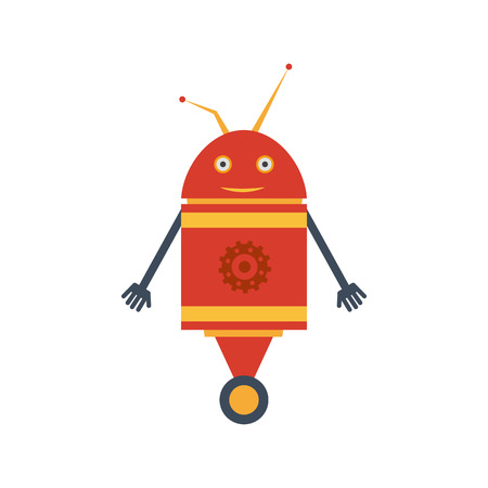 Vector illustration in a flat style. Mechanical smiling cartoon  red robot with gear on the wheel. Colorful icon in the flat style. Vettoriali