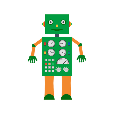 Vector illustration. Mechanical smiling cartoon green robot with the control panel. Colorful icon in the flat style.