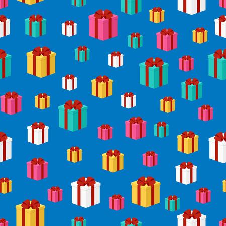 Modèle sans couture de cadeaux colorés, bandés avec un ruban rouge. Contexte. Illustration vectorielle d'un style isométrique. Conception pour l'emballage, bannière, affiche.
